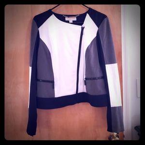MK black white and gray moto jacket NWT